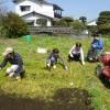 みんなで畑仕事(サトイモ植え)をしました。
