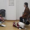 今日は、下村さんと盲導犬ウルマと一緒に阿蘇小学校へ行ってきました。